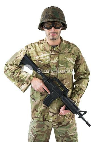 Portrait of soldier holding a rifle