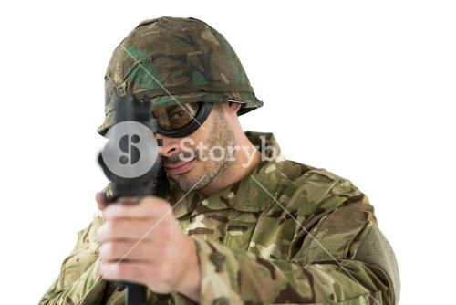 Soldier aiming with a rifle
