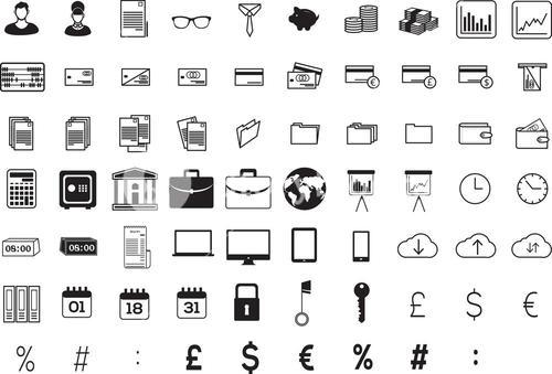Various business icons