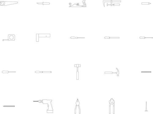 Various work tools vector signs