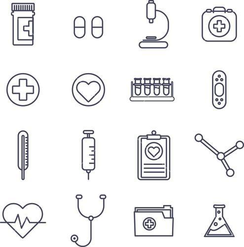 Various medical equipment vector icons