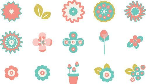 Various flowers vector icons