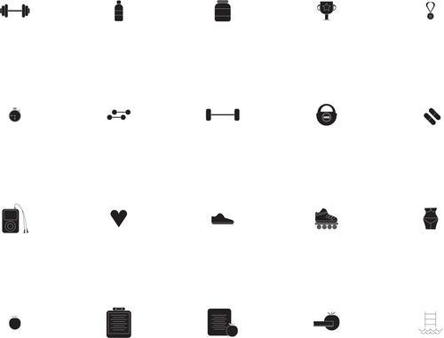 Various gym vector icons