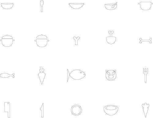 Various food and kitchen icons