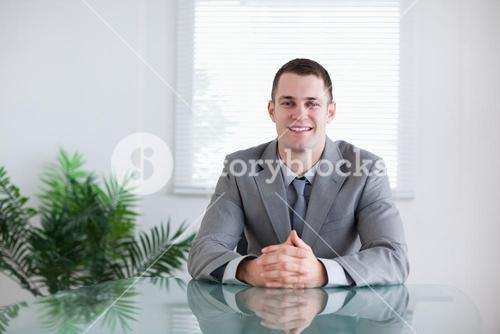Businessman in a successful negotiation