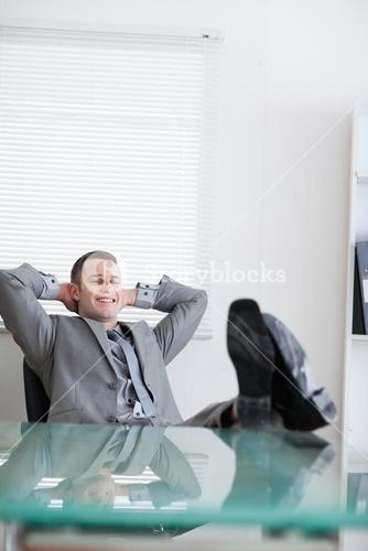Close up of businessman taking a rest
