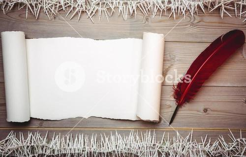 Old blank scroll paper and quill