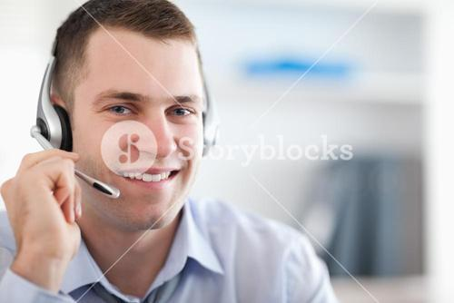 Close up of call center agent helping costumer