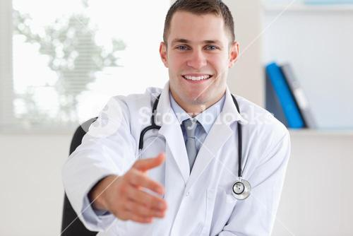 Doctor welcoming patient