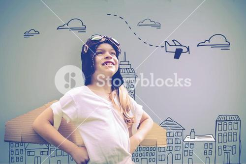 Composite image of girl wearing flying goggles
