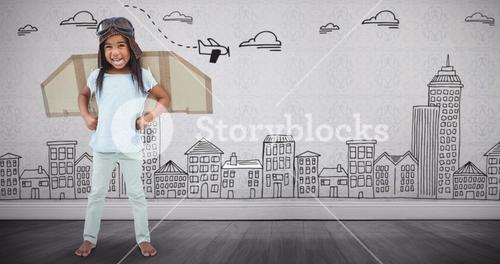 Composite image of standing girl with fake wings pretending to be pilot