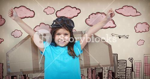 Composite image of smiling girl pretending to be pilot