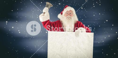 Composite image of santa holds a sign and rings his bell