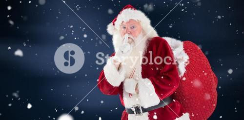 Composite image of santa asking for quiet with bag