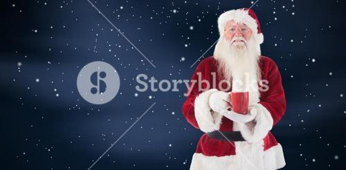 Composite image of santa holds a red cup