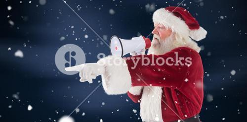 Composite image of santa points at something and uses a megaphone