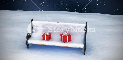 Composite image of digitally generated image of gift boxes on snow covered chair