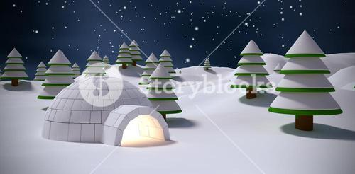 Composite image of igloo with trees on snow field