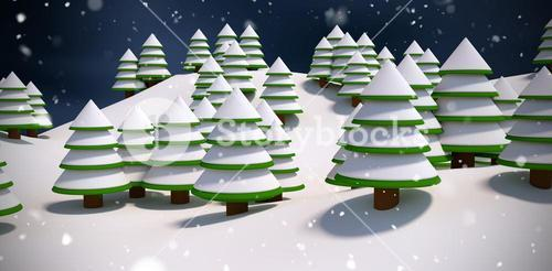 Composite image of snow covered trees