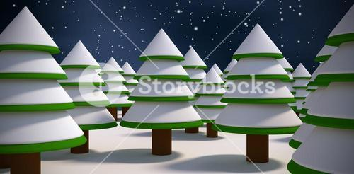 Composite image of trees on snow field