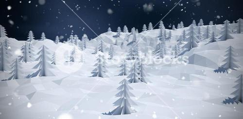 Composite image of composite image of trees on snow covered mountain