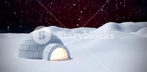 Composite image of igloo on snow field