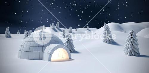 Composite image of illuminated igloo and trees on snow field