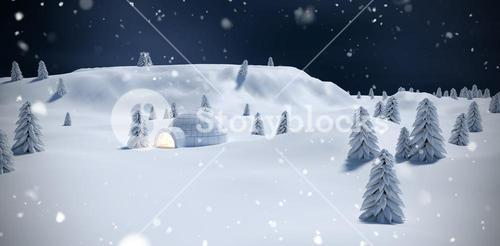 Composite image of illuminated igloo with trees on snow field
