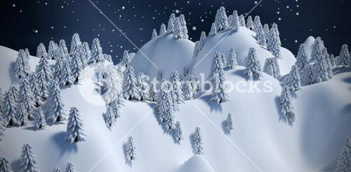 Composite image of tree on snowcapped mountain