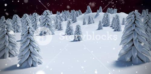 Composite image of digitally generated image of trees on snowcapped mountain