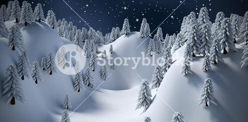 Composite image of snowcapped mountain with trees