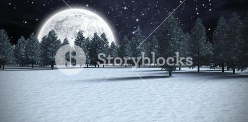 Composite image of forest on snowy field