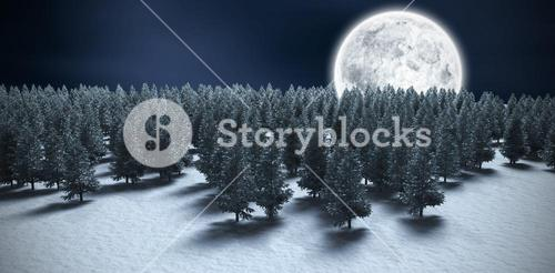 Composite image of digitally generated image of forest on snowy field during winter