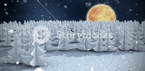Composite image of christmas trees at forest