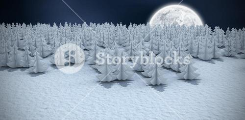 Composite image of high angle view of christmas trees at forest on snowy field