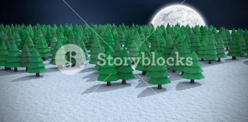 Composite image of high angle view of green christmas trees on snowy field at forest