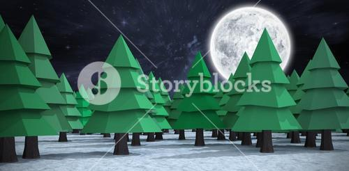 Composite image of green christmas trees