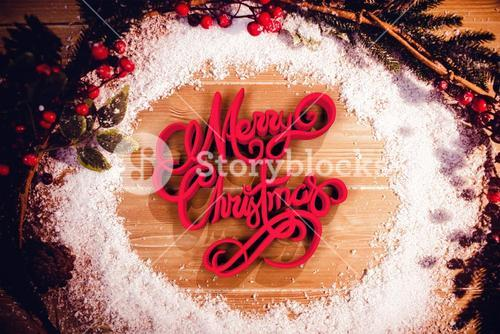 Composite image of three dimensional of merry christmas text in red and white color