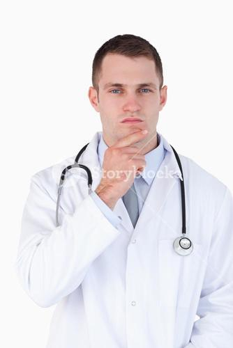 Close up of doctor lost in thought
