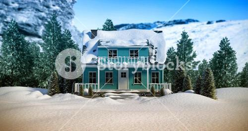 Composite image of three dimensional house snow covered