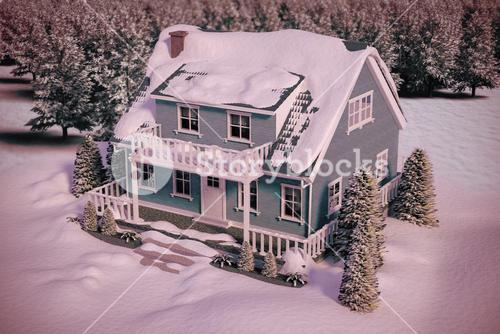 Composite image of high angle view of house covered in snow