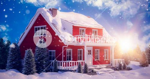 Composite image of snow covered house