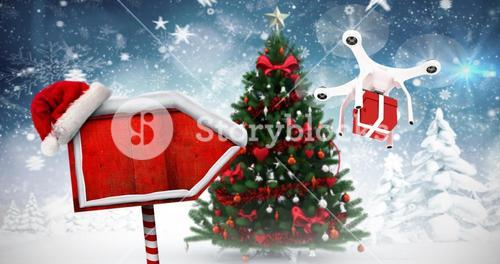 Composite image of digitally generated image of quadcopter with red gift box