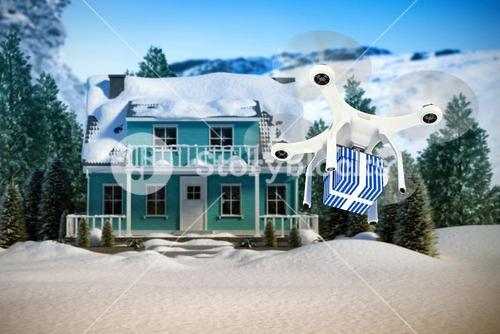 Composite image of digital composite image of quadcopter with blue and white striped gift box
