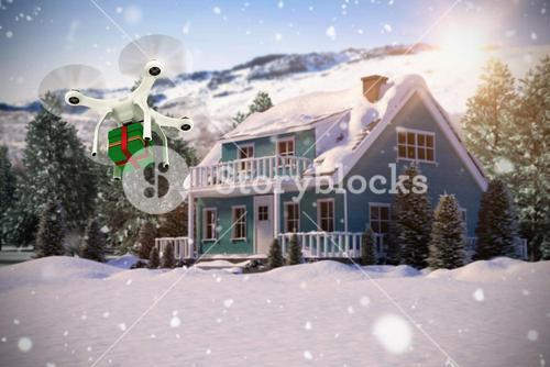 Composite image of quadcopter with gift box
