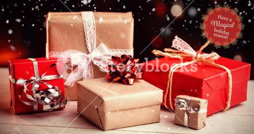 Composite image of white and red greetings card