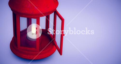 Composite image of red lantern on white background