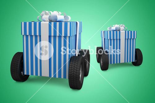 Composite image of blue and white striped gift box on wheels
