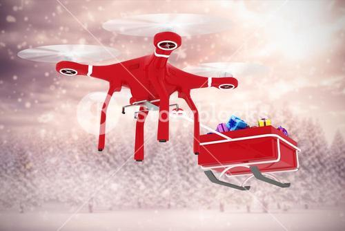 Composite image of drone pulling sledge