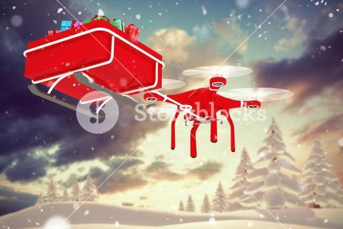 Composite image of drone pulling chirstmas sledge